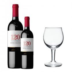 Santa Rita 120 Cabernet Sauvignon (1 botella + 1 media botella + 1 copa de vino)