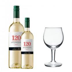 Santa Rita 120 Sauvignon Blanc (1 botella + 1 media botella + 1 copa de vino)
