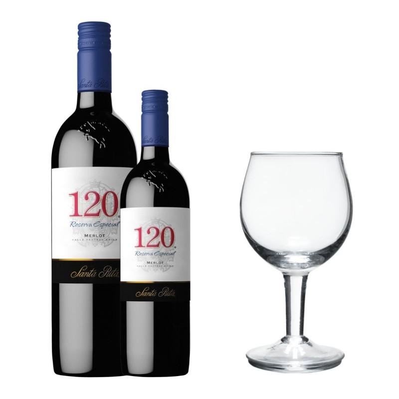 Santa Rita 120 Merlot (1 botella + 1 media botella + 1 copa de vino)