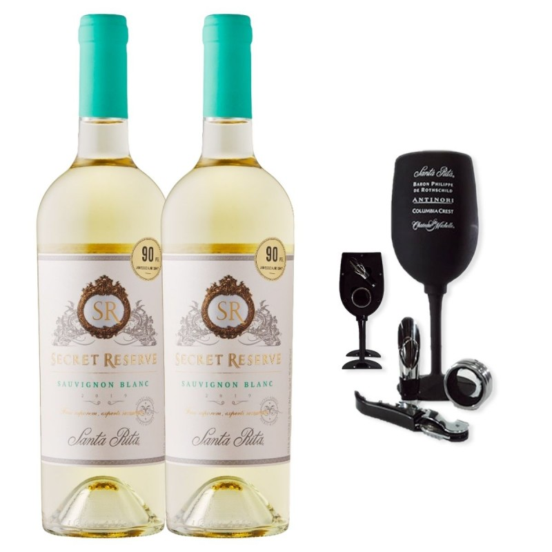 Santa Rita Reserva Secreta Sauvignon Blanc (2 botellas) + Accesorios